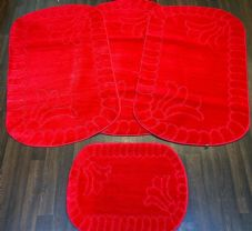 ROMANY GYPSY WASHABLES FULL SET OF MATS-RUGS 75X125CM SIZE NON SLIP RED NEW